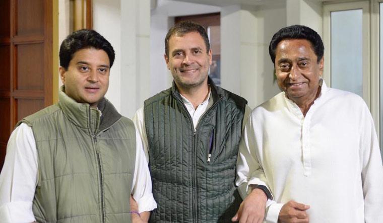 Rahul along with Kamal Nath and Jyotiraditya  Scindia | Twitter