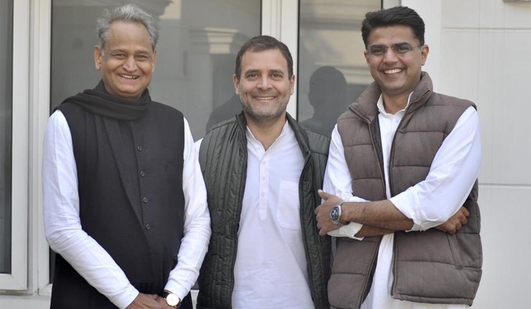 Rahul Gandhi along with Chief Minister Ashok Gehlot and his deputy Sachin Pilot | Twitter