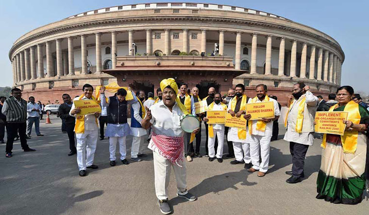 Image result for TDP protesting at parliament