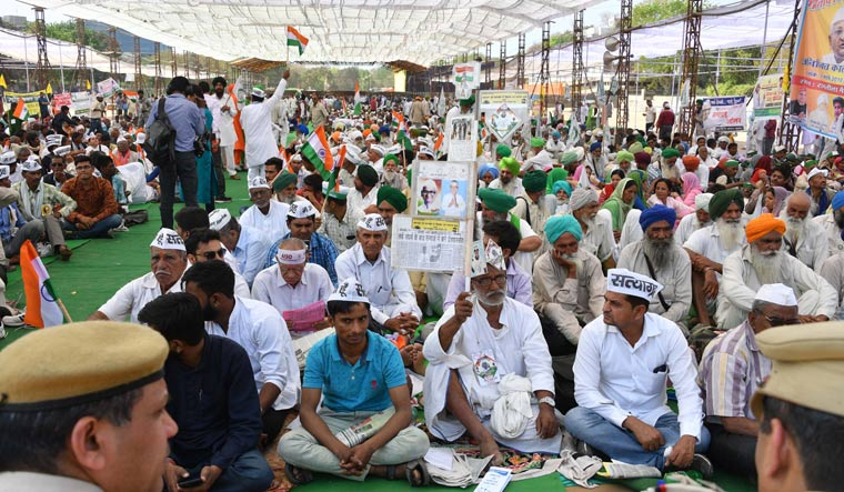 Anna Hazare sits on an indefinite hunger strike for Lokpal