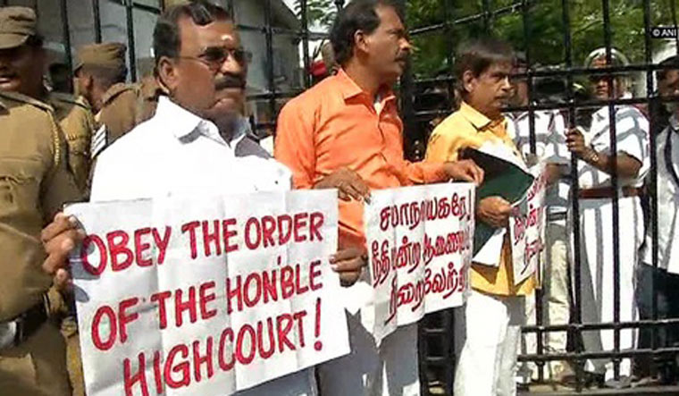 Protest outside Puducherry after three BJP MLAs denied entry into house