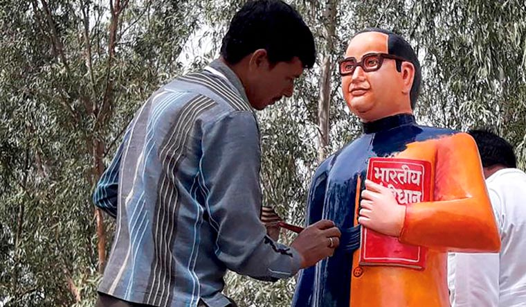 Ambedkar's statue printed from blue to saffron