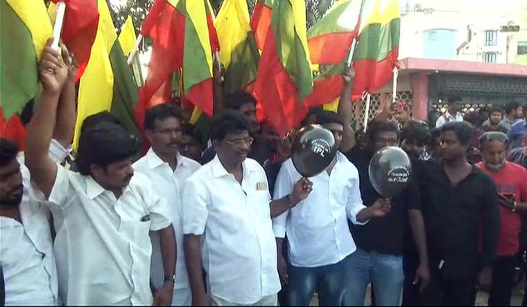 TVK protest against IPL