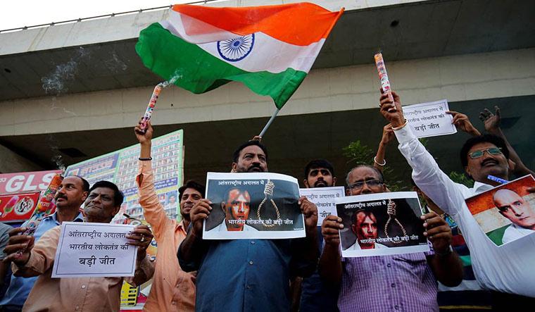 Protesters demanding justice for Kulbhushan Jadhav | File