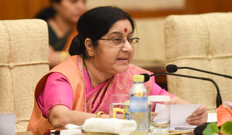 Sushma Swaraj arrives in China for talks with Wang Yi, SCO meet