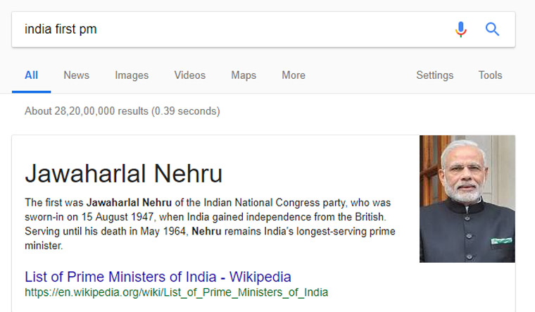 Google's gaffe: Shows Modi's pic when searched for 'India's first PM'