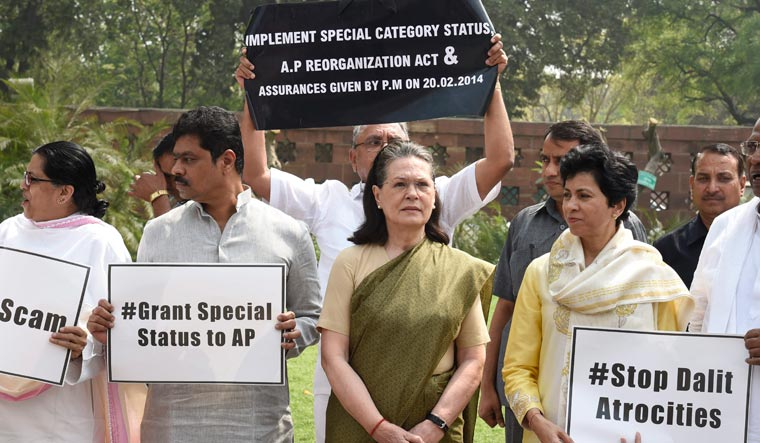 Congress-led opposition stages protest over Andhra special status, Parliament disruption