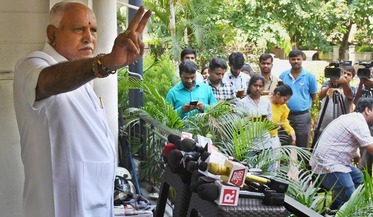 Yeddyurappa V-sign