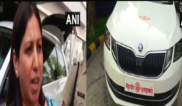 Allahabd Mayor Abhilsha Gupta and the car which she travelled in | ANI