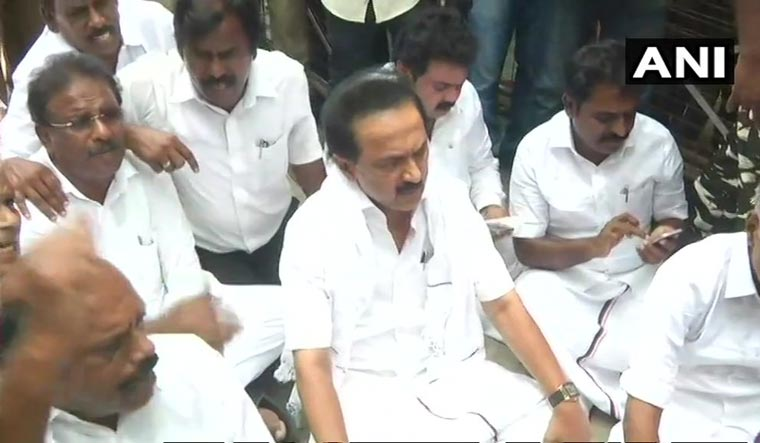 DMK working president M.K. Stalin with other party leaders staging a protest outside Tamil Nadu secretariat | Twitter  ANI