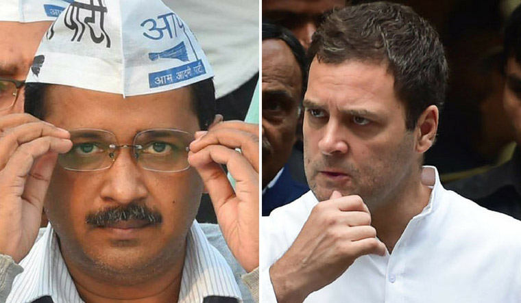 Aam Aadmi Party chief Arvind Kejriwal and Congress President Rahul Gandhi | File