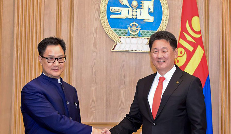 Minister of State for Home Affairs Kiren Rijiju meets Prime Minister of Mongolia Ukhnaagiin Khurelsukh on the sidelines of the Asian Ministerial Conference for Disaster Risk Reduction, in Ulaanbaatar | PTI