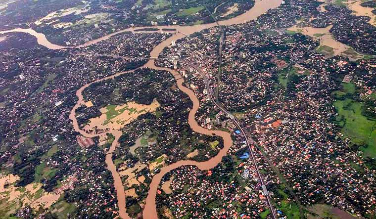 An aerial view of the floods in Aluva, near Kochi after heavy rains in Kerala | PTI