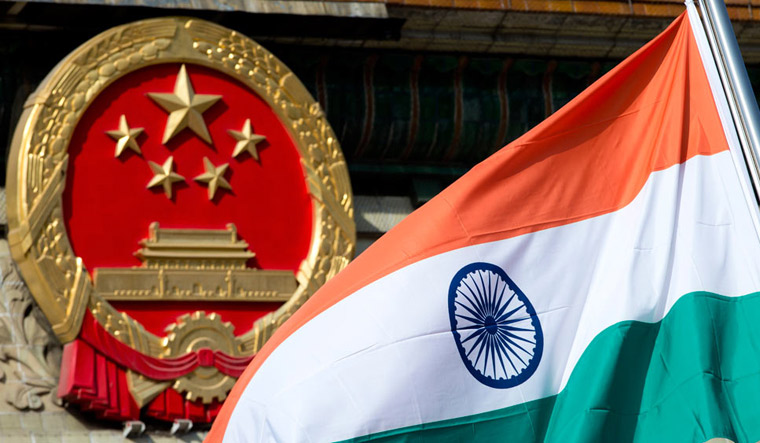 India China flags
