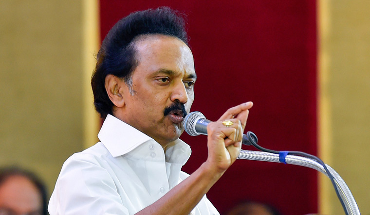 M.K. Stalin speaks during the party's general council meeting at Anna Arivalayam in Chennai on Tuesday | PTI