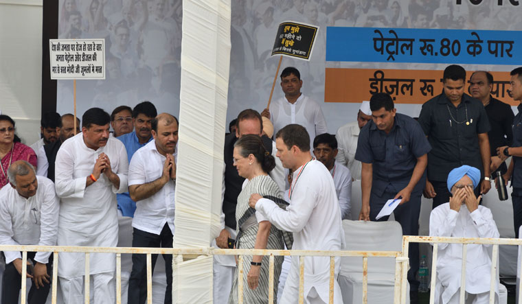 Congress president Rahul Gandhi with UPA chairperson Sonia Gandhi, former prime minister Manmohan Singh and other leaders during a protest against fuel prices in Delhi | Sanjay Ahlawat