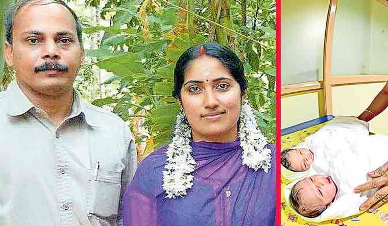 Sudhakaran and Shilna [file] and their twin girls [right] | Onmanorama