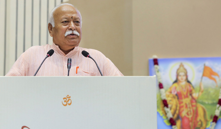 RSS chief Mohan Bhagwat speaks on the 2nd day at the event titled 'Future of Bharat: An RSS perspective', in New Delhi | PTI