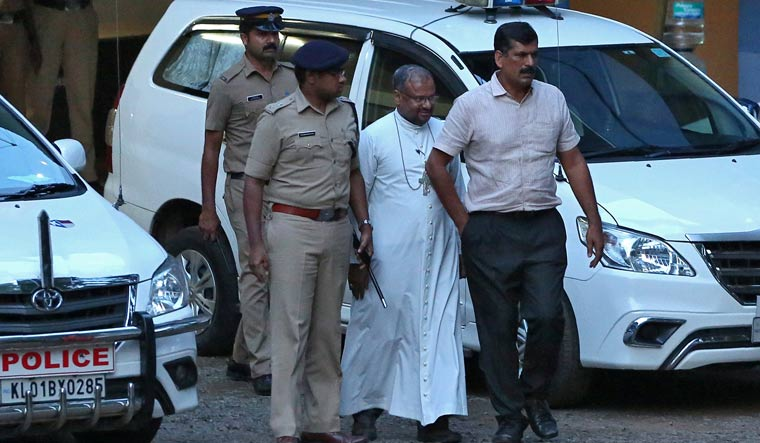 Bishop Franco Mulakkal outside a crime branch office in Kochi | Reuters