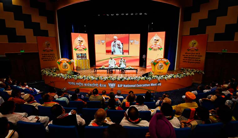 Prime Minister Narendra Modi and BJP president Amit Shah during party's national executive meeting in New Delhi   PTI