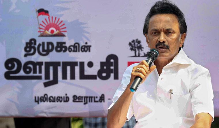 DMK Party President M.K. Stalin addresses his supporters at 'Gram Sabha' in Thiruvarur on Wednesday | PTI