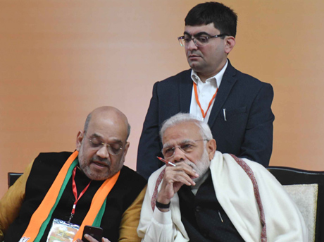 PM Modi and BJP chief Amit Shah during the convention | Sanjay Ahlawat