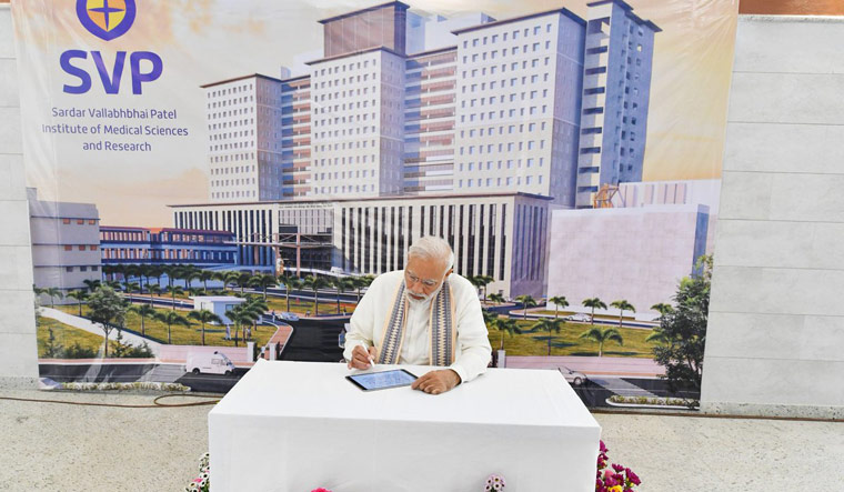 Prime Minister Narendra Modi during the inauguration of Sardar Vallabhbhai Patel Hospital at Ahmedabad | Twitter/PIB