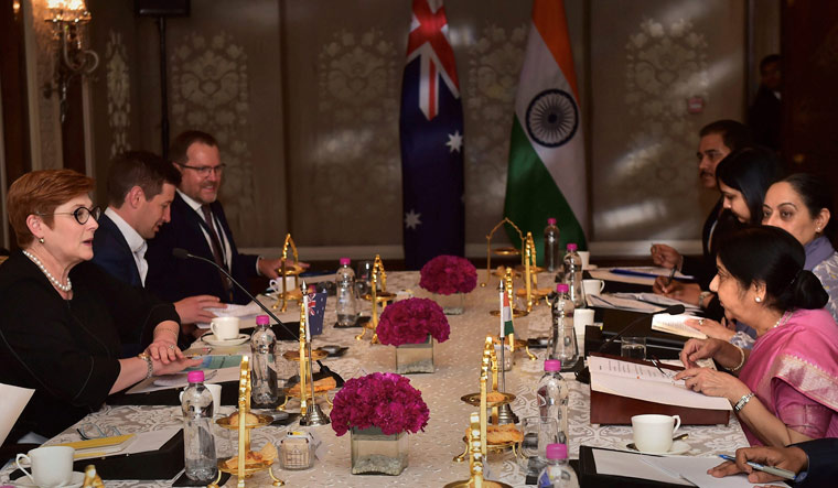 Union External Affairs Minister Sushma Swaraj during a meeting with her Australian counterpart Marise Payne, in New Delhi | PTI
