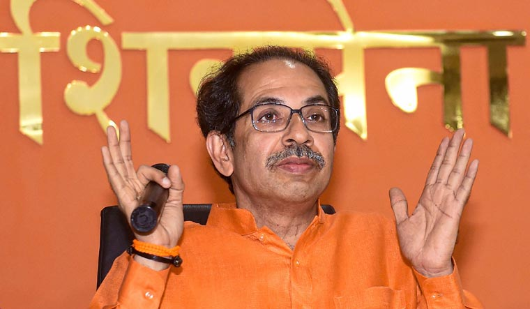 Shiv Sena chief Uddhav Thackeray speaks during a press conference at Sen Bhavan in Mumbai | PTI