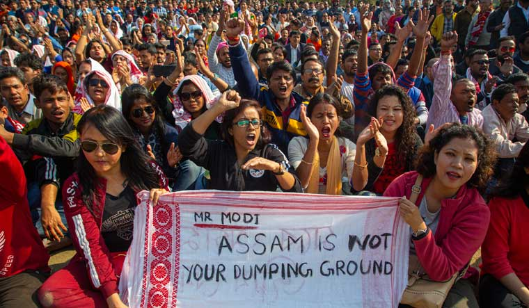 Protesters shout slogans during a rally against the Citizenship Amendment Bill in Guwahati | AP