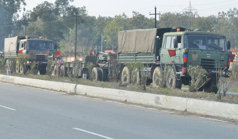 Indian Army convoy Amritsar AFP