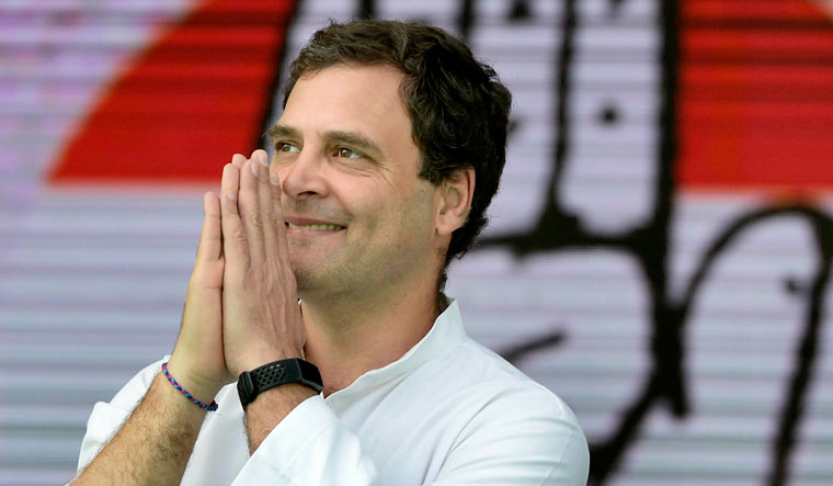 Congress president Rahul Gandhi during 'Jan Akanksha Rally', at Gandhi Maidan in Patna | PTI