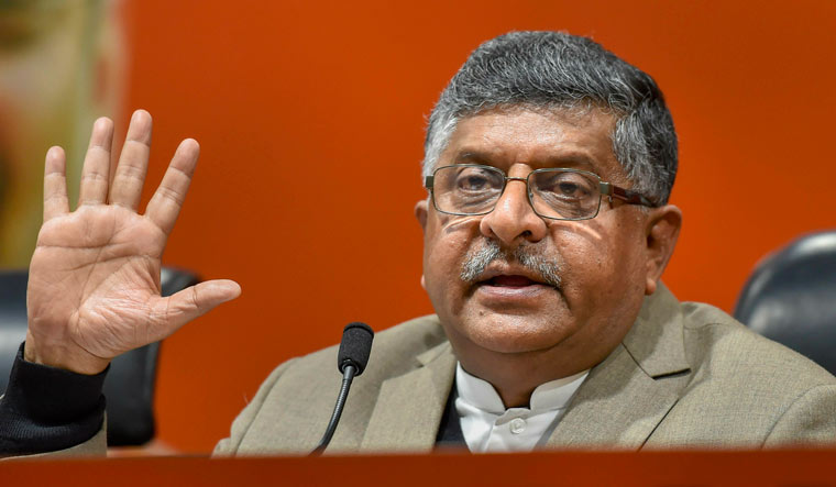 Union minister Ravi Shankar Prasad addresses a press conference in New Delhi | PTI