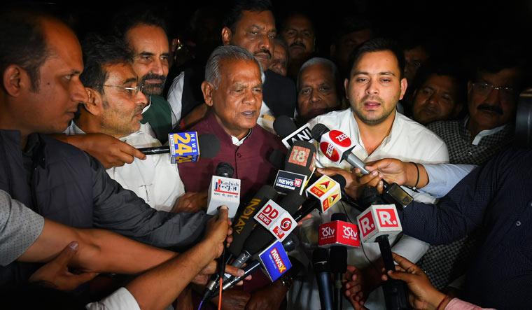 Rashtriya Janata Dal (RJD) leader Tejashwi Yadav, Rashtriya Lok Samata Party chief (RLSP) Upendra Kushwaha, AICC in-charge for Bihar Shaktisinh Gohil and HAM (S) chief Jitan Ram Majhi address the media after the Bihar Mahagathbandhan leaders' meet in New Delhi on Wednesday | PTI