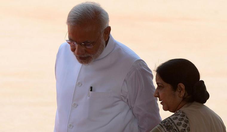 Sushma with Modi AFP
