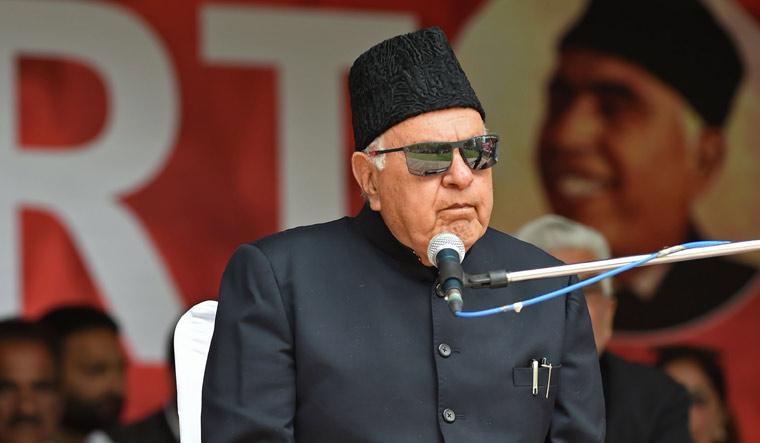Farooq Abdullah campaign Srinagar AFP