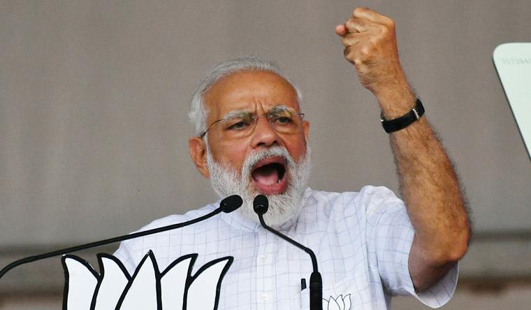 Prime Minister Narendra Modi addresses an election campaign rally at Kolkata's Brigade Ground | Salil Bera