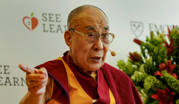 Tibetan spiritual leader the Dalai Lama speaks during the launch of Emorys International SEE Learning programme in New Delhi | PTI