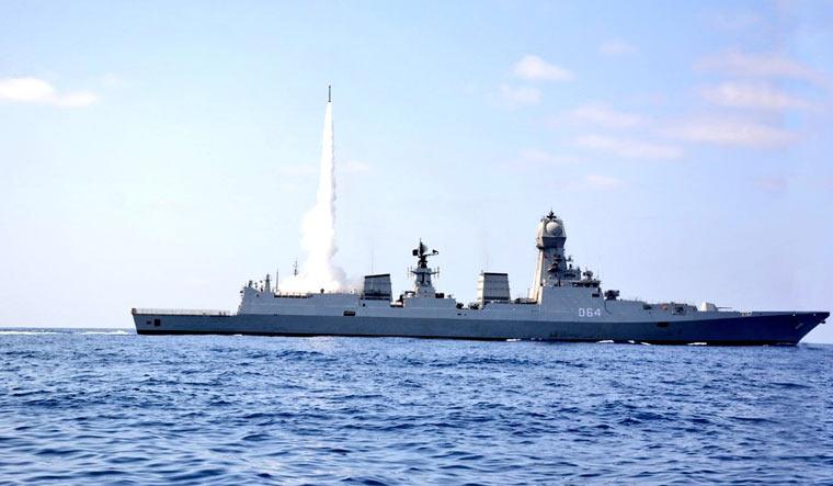 Barak-8 test launch from INS Chennai destroyer