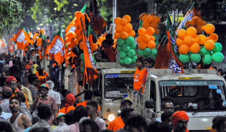 [File] BJP workers are busy overseeing the preparations for the D-Day and say the exit polls have underlined what they are always confident about | PTI
