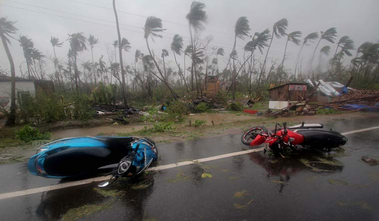 Motorcycles lie on a street in Puri district after cyclone Fani hit Odisha | AP