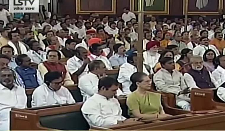 Rahul busy on his phone as President Kovind speaks in Parliament