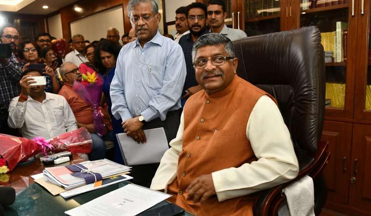 Ravi Shankar Prasad takes charge as the telecom minister at his office, in New Delhi | Sanjay Ahlawat