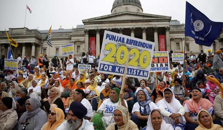[File] Supporters of pro-Khalistan movement at an event at Trafalgar Square in London | AFP