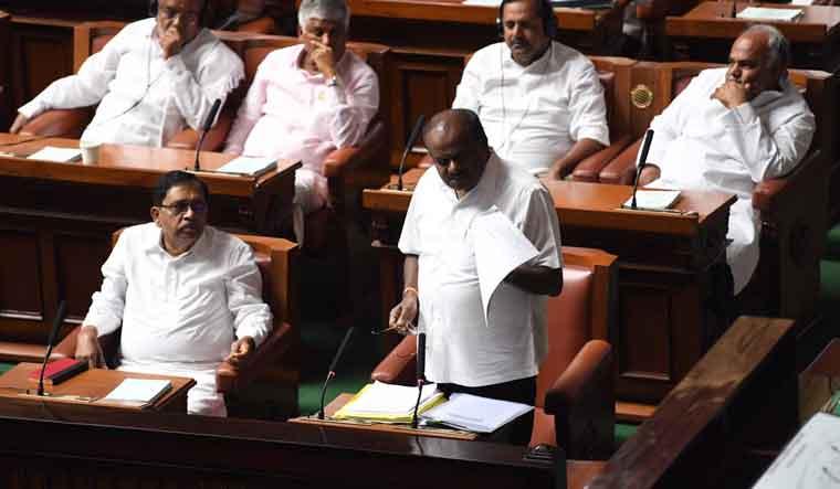 Karnataka Assembly Speaker K.R. Ramesh Kumar conducts the session at Vidhana Soudha in Bengaluru | PTI