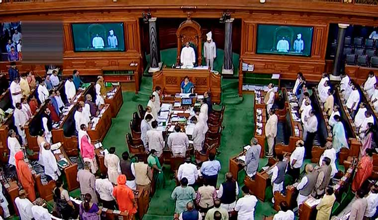 Parliamentarians observe silence during an obituary reference of sitting member Ram Chandra Paswan and former Delhi chief minister Sheila Dikshit in the Lok Sabha | PTI