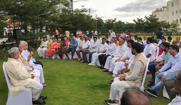 Karnataka BJP president B.S. Yeddyurappa holds a meeting with the party MLAs at a resort in Bengaluru | PTI