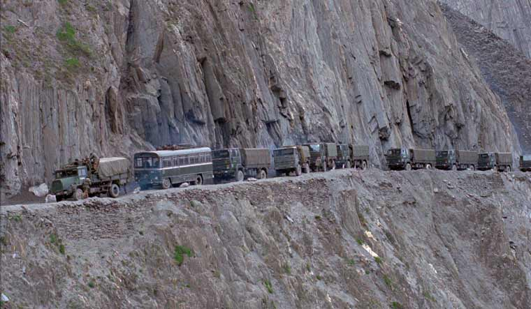 A file photo of an Indian Army convoy of reinforcement moving towards Kargil   PTI