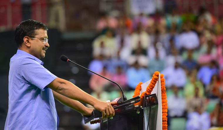 Delhi Chief Minister Arvind Kejriwal speaks during the launch of 'Constitution at 70 Campaign', in New Delhi | PTI