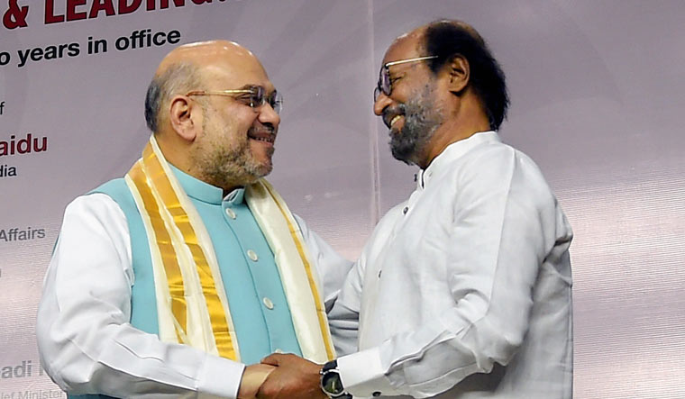 Actor Rajinikanth with Union Home Minister Amit Shah at an event in Chennai on August 11 | PTI